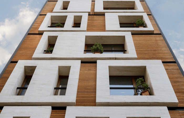 چوب ترموود در نمای ساختمان