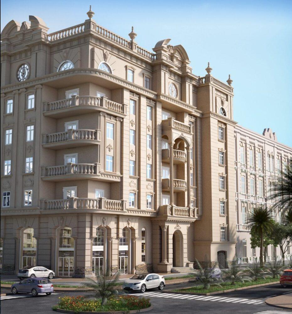 طراحی نمای ساختمان مسکونی به سبک رومی آریاز دیزاین