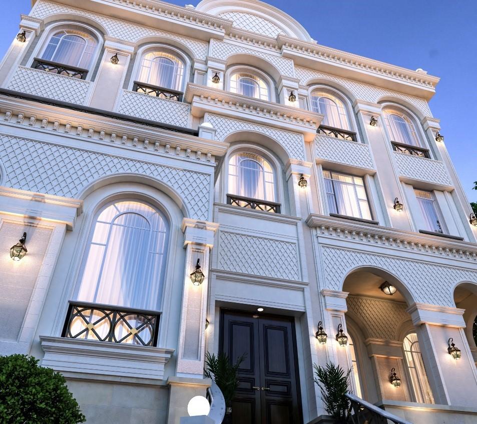 گچ به جای سنگ در طراحی نمای کلاسیک آریاز دیزاین