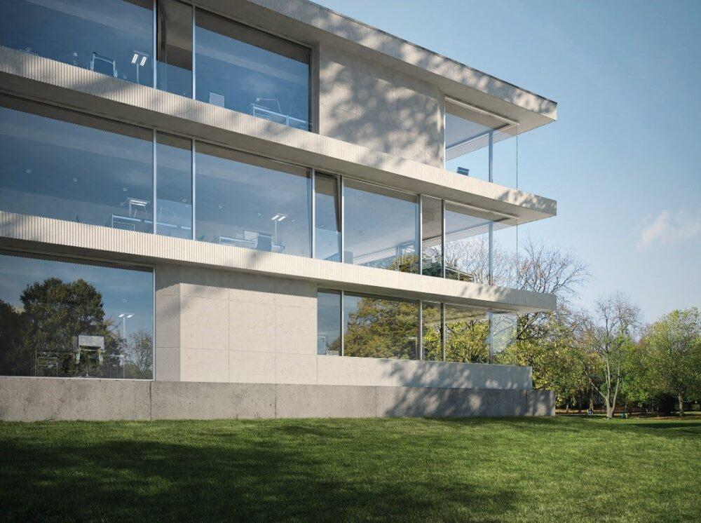 طراحی مینیمال نمای شیشه ای ساختمان-آریاز دیزاین